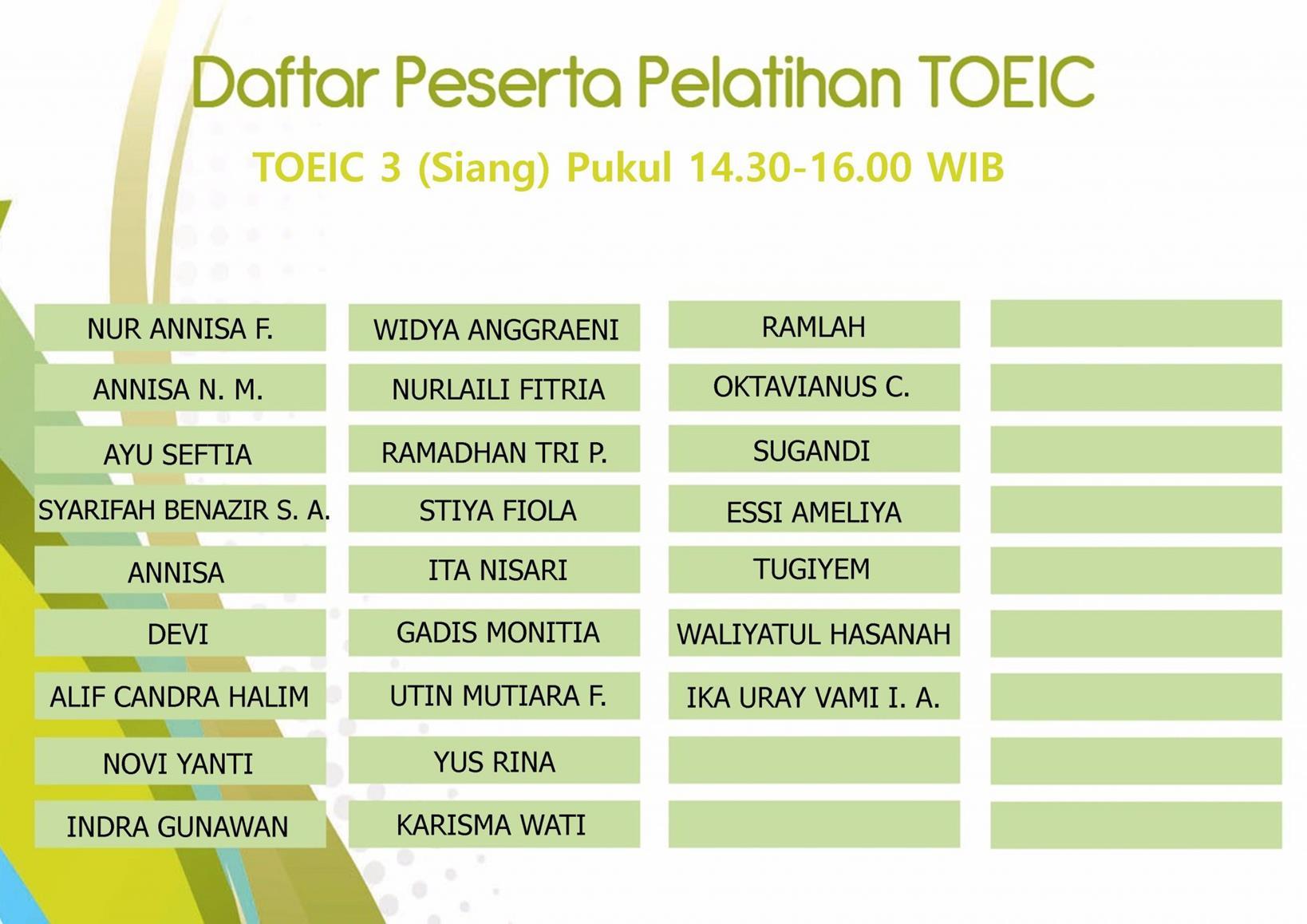 TOIEC 3 Siang